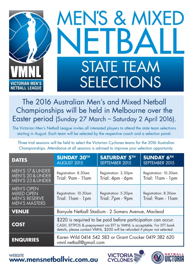 2016 State Team Selections flyer - Mens & Mixed