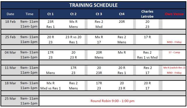 20180224 - Training Schedule Update