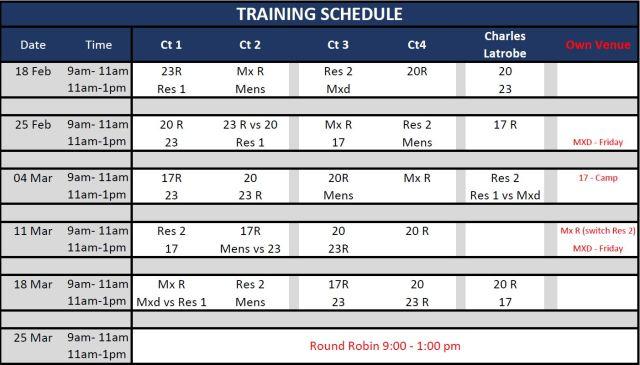 20180308 - Training Schedule Update